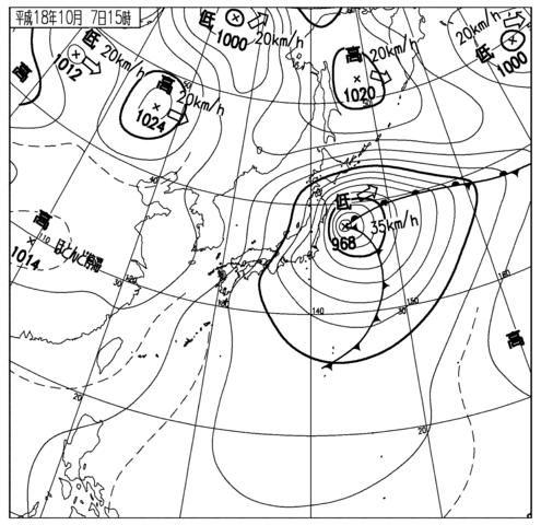 速報天気図10月7日15時