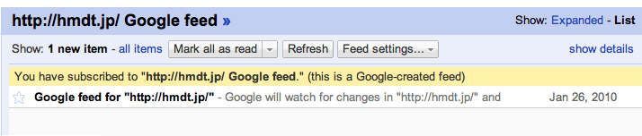 Added Website to Google Reader as a Atom feed